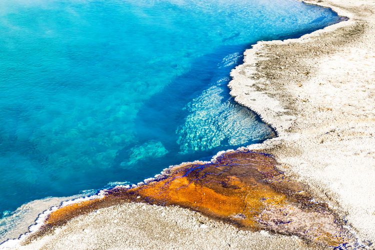 Colorful pattern of the black pool, yellowstone national park