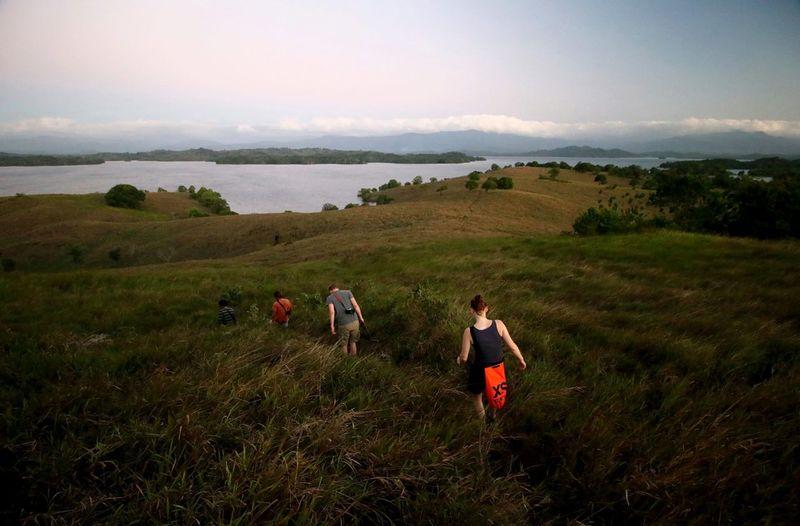 Walking Capture Tomorrow Full Length Sunset Rural Scene Sea Hill Cliff Red Dog Women Hiking Hiker Horizon Over Water Headland Seascape