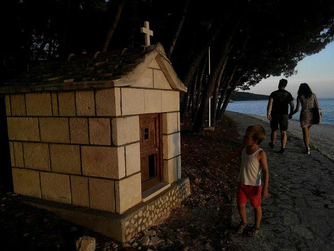 Chapel Small Sea And Sky Couple In Love Walking On The Beach Croatia Primošten Kids Photography Son Coastalwalkaway Happy Moments
