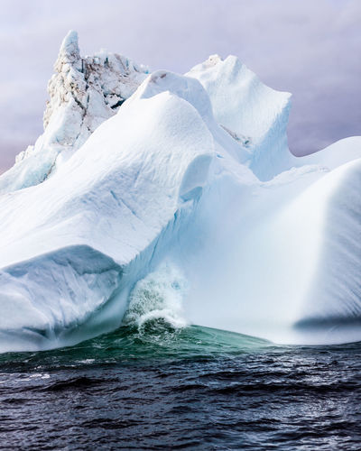 A close up of an iceberg in the gulf of st lawrence, canada.