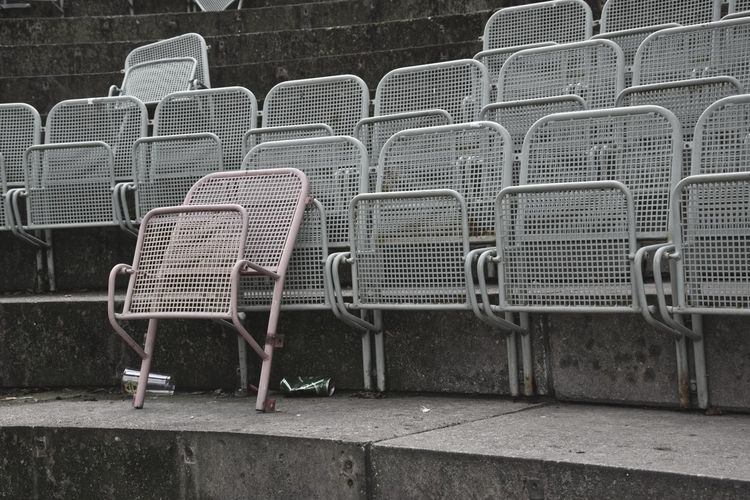 Metallic Seats On Steps At Stadium