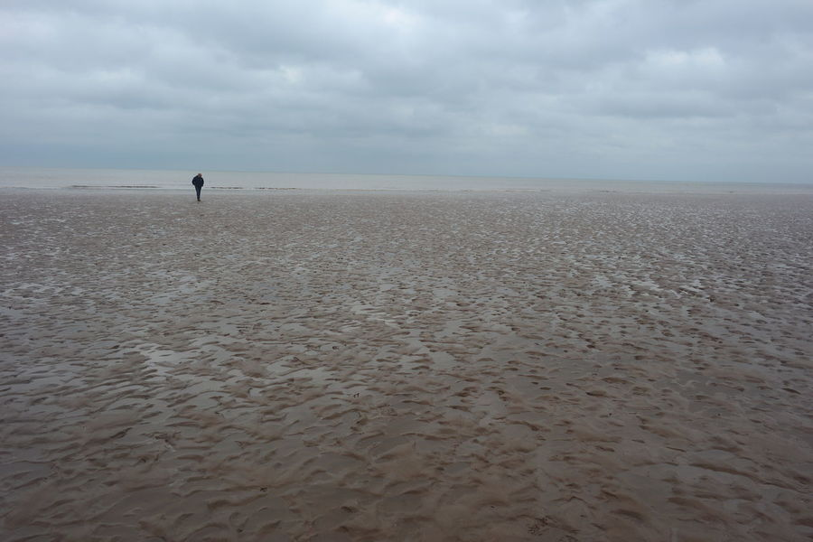 walking along Mablethorpe Beach Beach Cloudy Day Cloudy Sky Damp Day Lone Man Lone Man On Beach Loneliness Mablethorpebeach One Person Sand & Sea Sandy Sea And Sky Sea View Seascape Seaside Tranquility