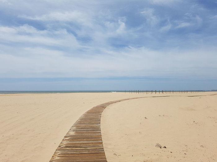 all alone on the beach Sand Dune Water Sea Beach Marram Grass Sand Desert Blue Low Tide Full Length Coastal Feature Coastline Calm Ocean Seascape Coast