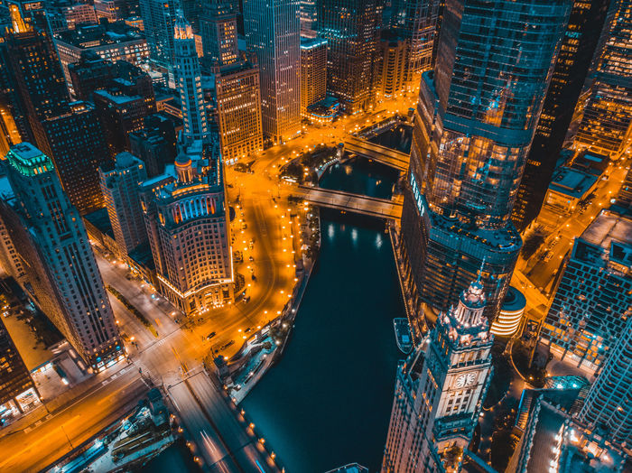 High angle view of illuminated chicago street and buildings at night