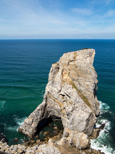 Cabo da Roca - Beautiful coastline of Portugal with Atlantic ocean and beach Sea Water Scenics - Nature Horizon Beauty In Nature Horizon Over Water Sky Rock Tranquil Scene Tranquility Rock - Object Rock Formation Solid Blue Nature Idyllic Land Day No People Outdoors Eroded Stack Rock Rocky Coastline