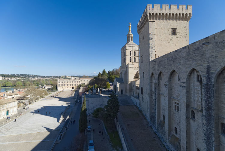 Palace of the Popes and cathedral of Avignon - Camargue - Provence - France Architecture Avignon Avignon, France Castle Cathedral Church Construction Exterior France Pope Provence Provence Alpes Cote D´Azur Roof Square Wall Arch Building Camargue Fort Fortress Medeival Old Palace Sky Stone