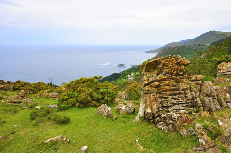 coast of death in galicia spain SPAIN Coast Of Death Galicia Spain Beauty In Nature Cliff Coast Of Death In Galicia Spain Day Grass Horizon Over Water Idyllic Mountain Nature No People Outdoors Rock - Object Scenics Sea Sky Tranquil Scene Tranquility Water