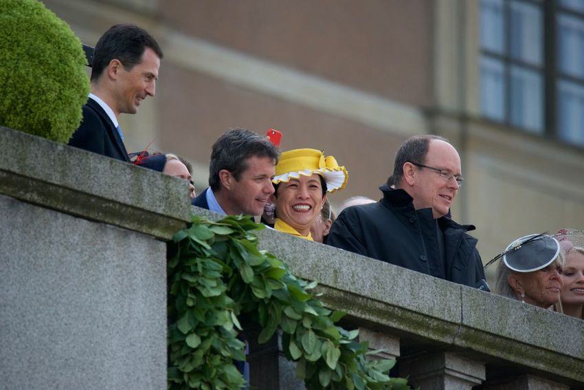 At the Royal Palace Stockholm Balcony Daytime H.I.H Princess Takamado Of Japan H.K.H Crown Princess Mary Of Denmark H.K.H. Crown Prince Fredrik Denmark H.S.H. Prince Albert II Of Monaco King Carl XVI Gustaf 70 Years Outdoors Royal Palace Stockholm, Sweden