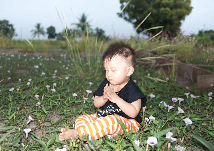 Boy on field