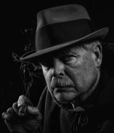 Talk to me Black And White Self Portrait Monochrome Shootermag Hat Cigar Smoke Detective Tough Man