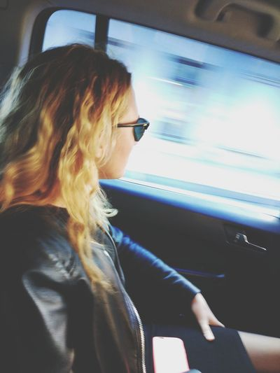 Car Window Passenger Looking Through Window Blond Hair Travel Young Adult Only Women Vehicle Interior One Person Journey Land Vehicle One Young Woman Only People Adult Car Interior Transportation
