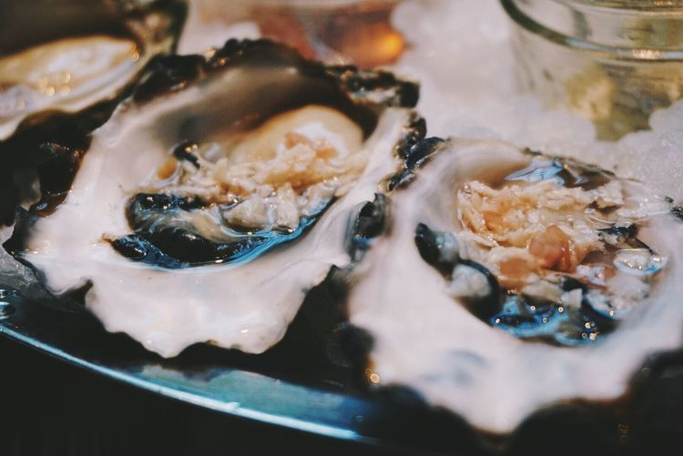 Close-Up Of Serving Oysters On Plate