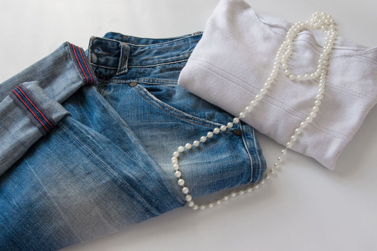 Close-Up Of Womenswear On Table