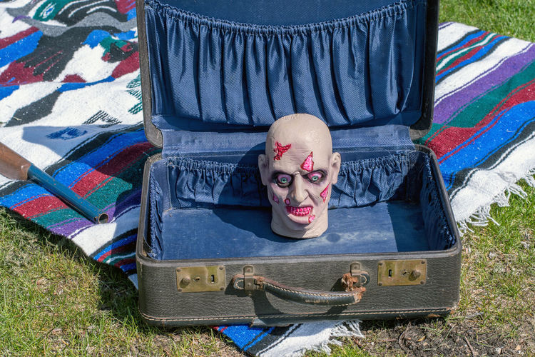 this severed head could be a gruesome find in an old suitcase, but thank goodness it is not real! Face Baggage Messy Travel Bag Sitting Nose Vacations Portrait Accommodation Luggage Untidy Scruffy HEAD Separation Anxiety Anxious  Holiday Packed Traveling Unpacked Vacation Suitcase Anxiety  Sad Severed Head Blood Gruesome Fake Plastic Scary Fright Outdoors Old Makeup Dead Bald Scars Blue Blanket Lawn Sale Front View Lying Down Representation Human Representation Males
