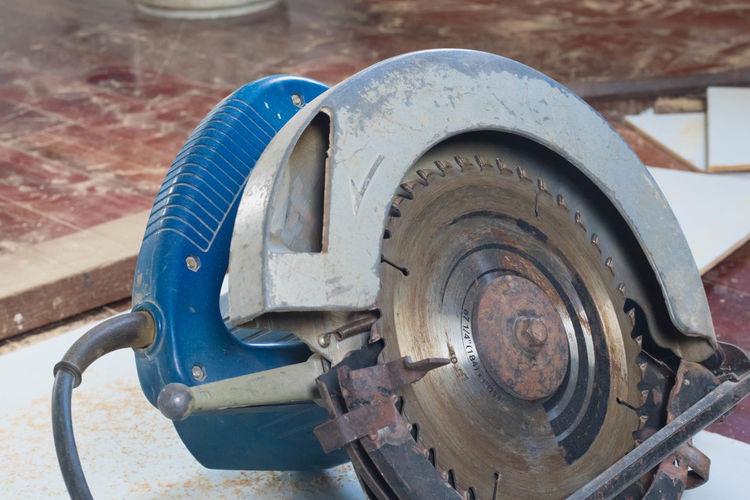 High angle view of circular saw