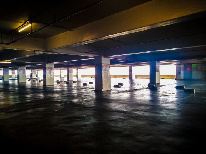 Interior of empty parking lot