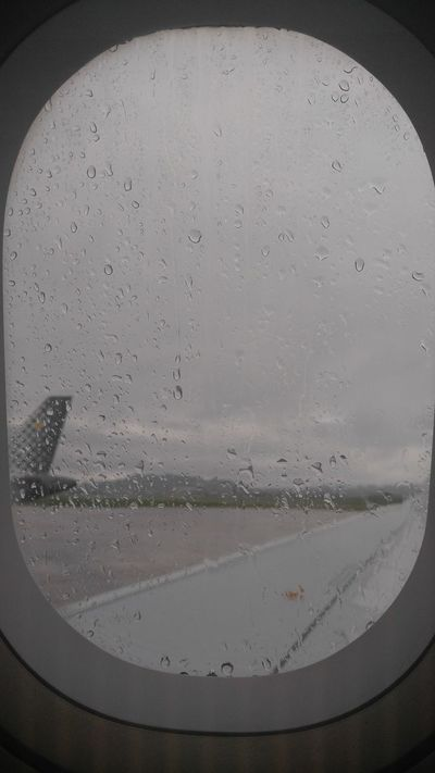 Airplaine Window Airplane Window View Airplane Wing Gloomy Weather Rain