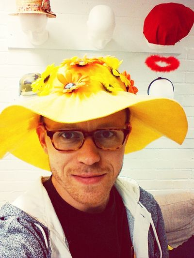 Flower Hat Brainstorming Selfie