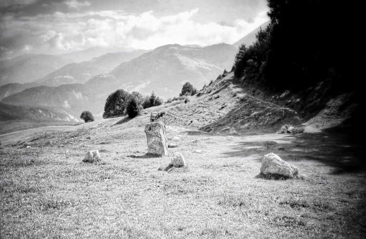 old Foto...Landscape Mountain Outdoors Beauty In Nature Nature Tranquility No People Tree Sky Taking Photos Black And White Photography Black&white Black & White Monochrome Photography Monochrome Collection Monochrome Photograhy Blackandwhite Photography Stone Circle menhir Menhires Celtic Legends Religion And Beliefs Religion Your Ticket To Europe Been There. Done That. Lost In The Landscape