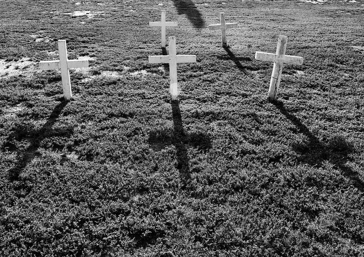 Backlit crosses with shadows in black and white Vintage Midland, TX Cemetery Blackandwhite Morning Light Graveyard Beauty Light And Shadow White Crosses Anonymous History Full Frame Pattern Backgrounds High Angle View No People Day Sunlight White Color Repetition