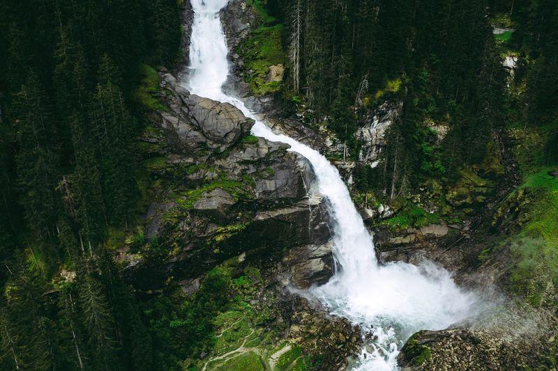 Aerial image of scenic krimml waterfalls, austria