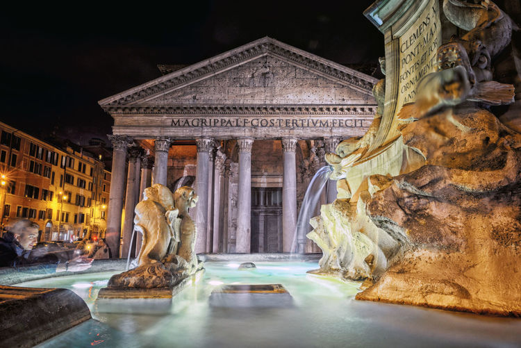Fountain By Pantheon At Night