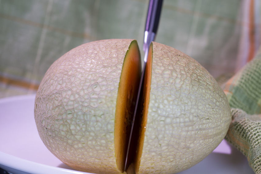 Cut Knife Split Cantaloup Close-up Day Food Food And Drink Freshness Fruit Healthy Eating Indoors  Melon No People