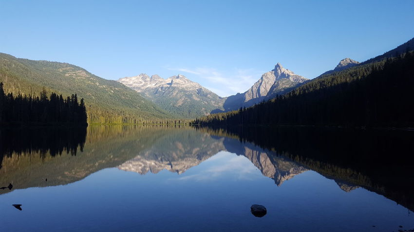 A Matter of Perspective. Tranquility Mountain Range Reflection Lake Water Scenics Tree Symmetry No People Clear Sky Beauty In Nature Outdoors Travel Destinations Mirror Reflection