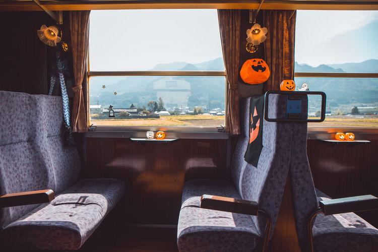 View of bus in train