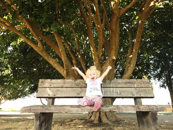 Lost In The Landscape Tree Childhood Girls Day One Person Outdoors Full Length Happiness Lifestyles Real People Standing Smiling Nature People