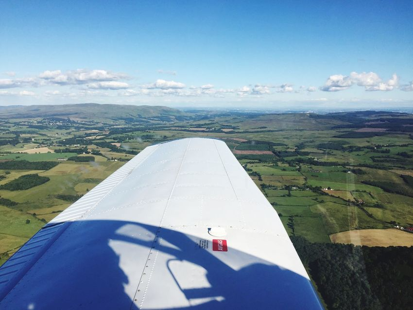 Aviation in Scotland Sky Flying Pilotlife Pilot Scotland Aviation Mode Of Transport Aerial View Aeroplane Aircraft Wing View Pa28 Ppl EyeEmNewHere