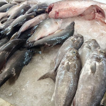 morning market. Fresh Produce Fresh Market Fish Preparation For Chinese New Year