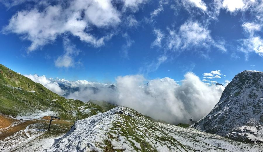 Panorama Cloud - Sky Beauty In Nature Mountain Scenics - Nature Non-urban Scene Sky Tranquil Scene Tranquility Snow Winter Cold Temperature Nature Day Environment Mountain Range Landscape No People White Color Idyllic Snowcapped Mountain Formation