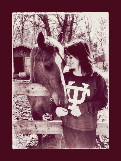 Woman Mare Fence Girl Horse Happy Peaceful Barn Domestic Animals Country Living Chestnut Quarter Horse Love Tulane
