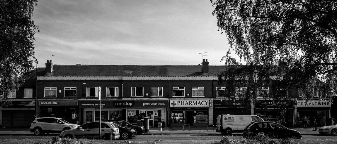 North Parade, Sale, Manchester. Shops Shop Fronts HuaweiP9 Leicap9 Leica Blackandwhite Photography Black And White Street Photography