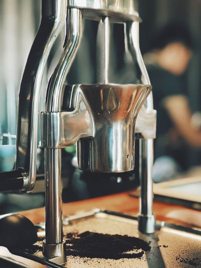 Close-up of espresso maker in kitchen