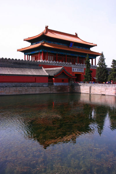 Forbidden City's moat Crenel Red Tree Wall Algae Architecture Battlement Brick Building Exterior Day Eaves Lake Moat Nature No People North Outdoors River Roof Sky Stone Tower Travel Destinations Tree Water