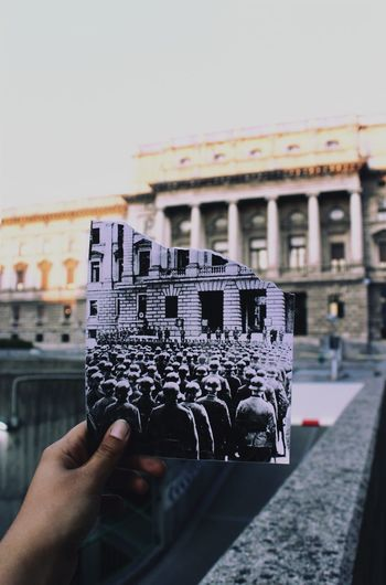 Nazi military ceremony of the SS in Trieste. History History Through The Lens  Italy Military 1942 Oldvsnew Once Upon A Time City Cityscape Human Hand Close-up City Location Old Ruin Historic Building Urban Scene Exterior Historic