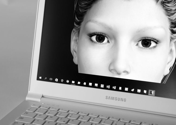 Virtual Assistant Artificial Intelligence Black & White Chatting Cybernetics Cyberpunk Eloisa Eyes Her High Tech Keyboard Machines Can Think PC Samsung Tell Me Something Human Meets Technology