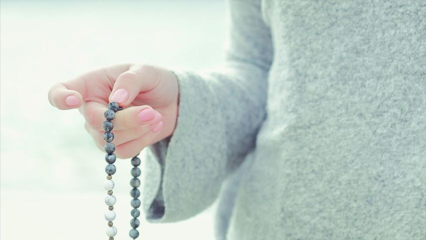 Real People One Person Human Hand Human Body Part Holding Childhood Leisure Activity Lifestyles Close-up Outdoors Day Nature People Beads Rosary Japamala Mala Japa Praying Hand
