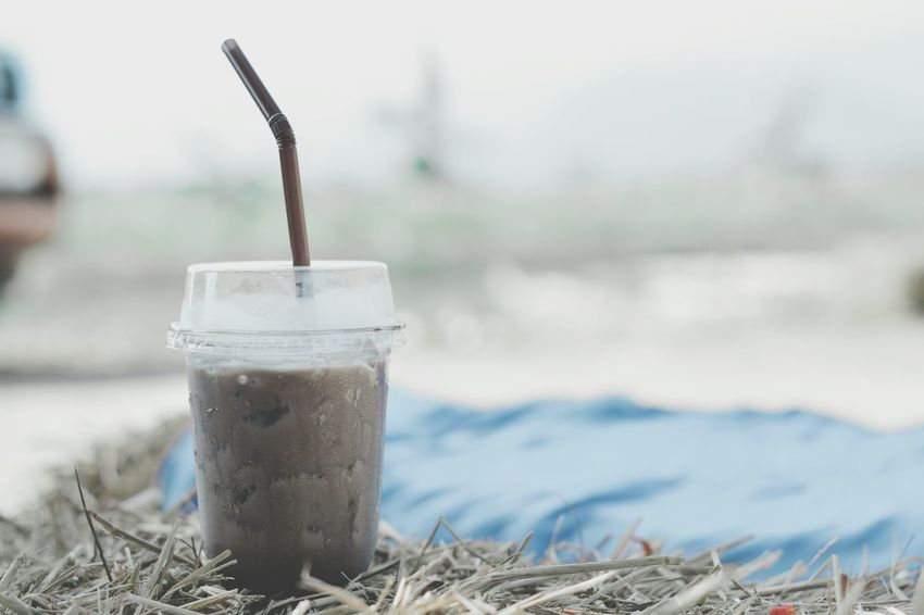 Iced coffee Hay Espresso Cappuccino Latte Cool Nature Cafe Shop Drink Bevarage Freshness Aroma Chilling Brown Water Drink Drinking Straw Cold Temperature Cold Drink Beach Close-up Food And Drink Ice Cube Ice Tea Iced Coffee