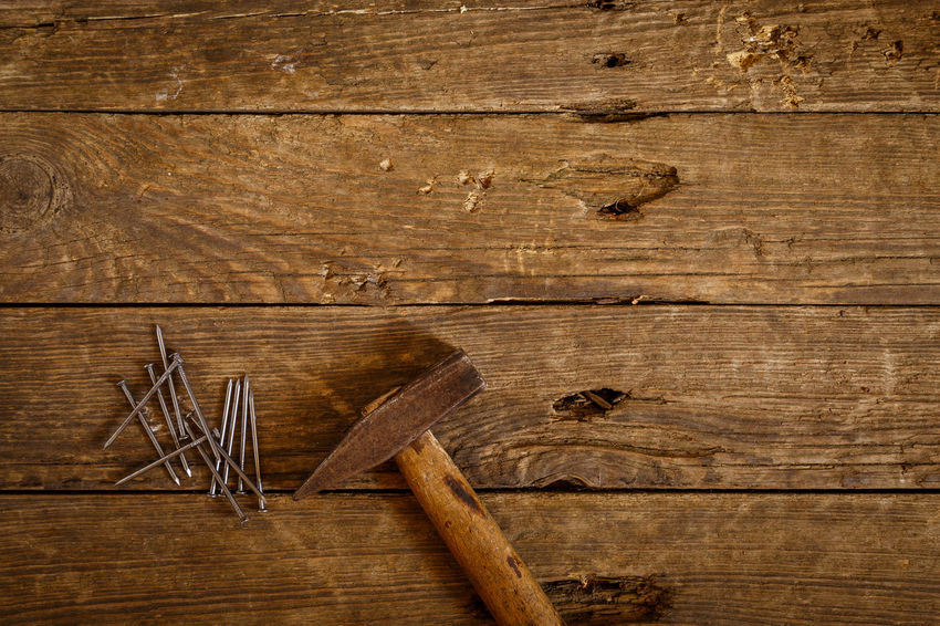 Nails Backgrounds Brown Carpentry Colored Background Copy Space Directly Above Food And Drink Hammer High Angle View Indoors  Man Made Object No People Old Plank Rough Studio Shot Textured  Wood Wood - Material Wood Grain