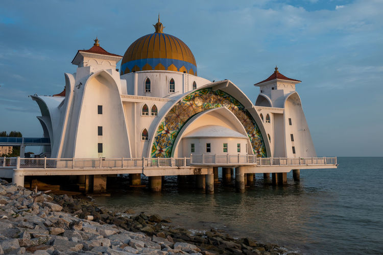 Malacca Built Structure Building Exterior Architecture Water Sky Place Of Worship Building Religion Cloud - Sky Spirituality Dome Belief Nature Sea No People Waterfront