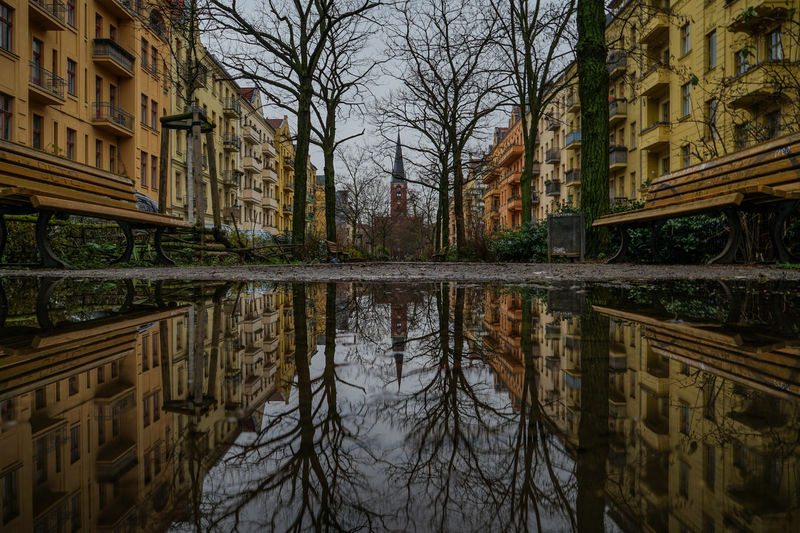 Benches and puddles benchmarking in Bänschstraße Bänschstraße Friedrichshain Friedrichshain-Kreuzberg Berlin Germany Deutschland Puddle Puddleography Puddle Reflections Moody Moodygrams Samariterkirche SamariterKiez Reflection Architecture Built Structure Building Exterior Water City Reflecting Pool Symmetry Outdoors Sky Tree Day No People