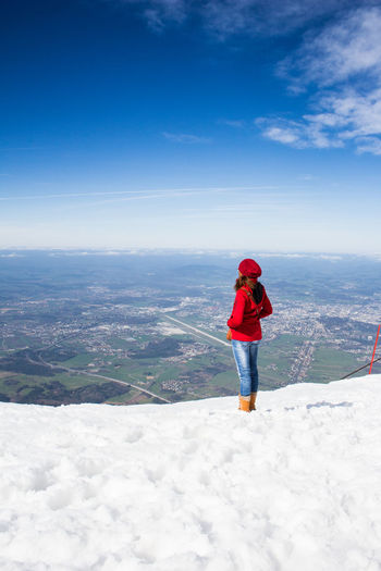 Girl on Mountain Airport Airport Photography Blue Sky City Girl Girl Friend Girlfriend Horizon Jacket Mountain Mountain View Mountainview Red Red Jacket Salzburg Mozartstadt Salzburg Oldtown Salzburg, Austria SalzburgerLand Sky And Clouds