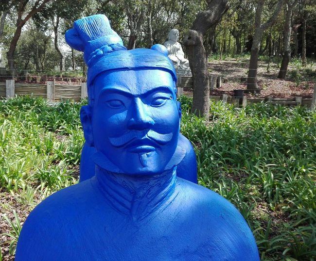 Portugal Bombarral Buddha Eden Garden, Portugal Statue Sculpture Blue Close-up