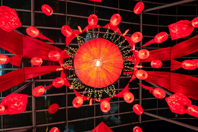 Kuala Lumpur Lighting Equipment Red Illuminated Decoration Low Angle View Hanging Lantern No People Pattern Chinese Lantern Ceiling Electricity  Night Light Electric Light Celebration Directly Below Glowing Technology Electric Lamp