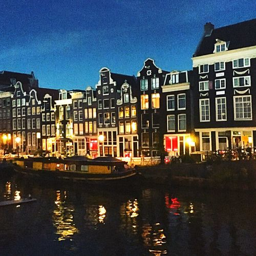 Houses by night Architecture Built Structure Building Exterior Transportation Canal Amsterdam Amsterdam Vibe Reflection Canals Canals And Waterways Summer Views Water Illuminated Sky No People City Night