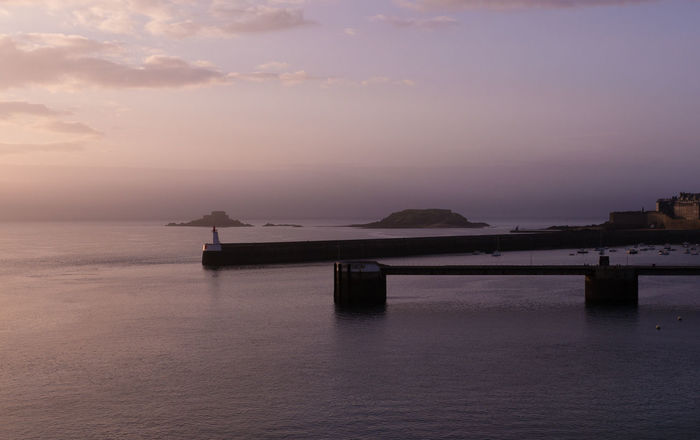 Atmosphere Bretagne Harbour Horizon Over Water Ocean Pier Sea St. Malo Sunset Water Landscapes With WhiteWall