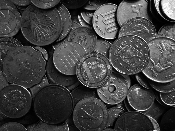 Backgrounds Full Frame Stack Arrangement Close-up Geometric Shape Coin Circle Shape Repetition Allowance Circular Piggy Bank Money